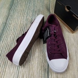 New CONVERSE red plush suede OX lace up sneakers